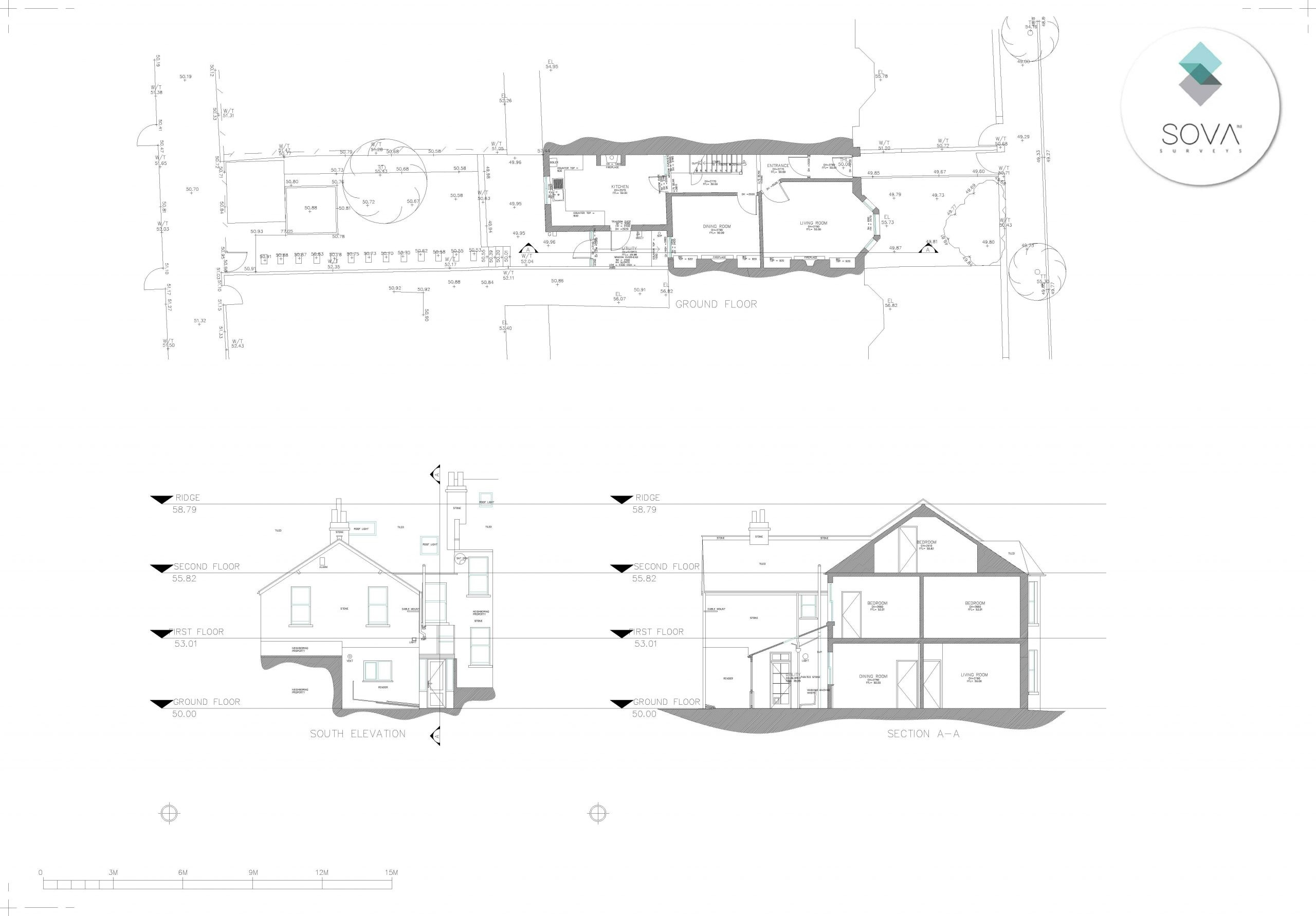 An example of a floor layout from a measured building survey.