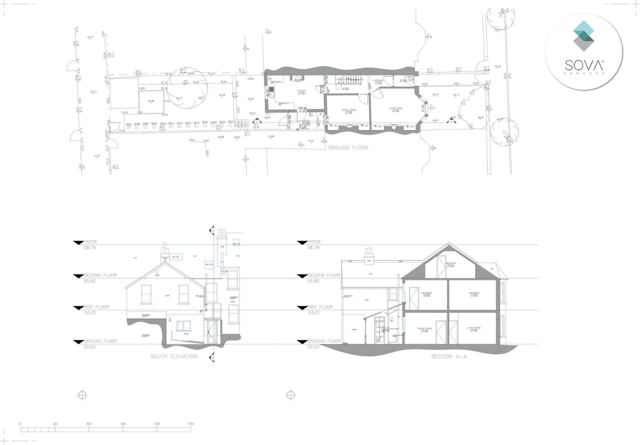 An example of a floor layout from a measured building survey